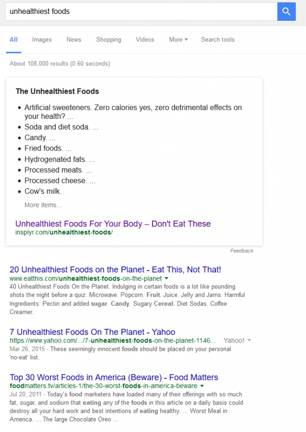 Google search example or rankings