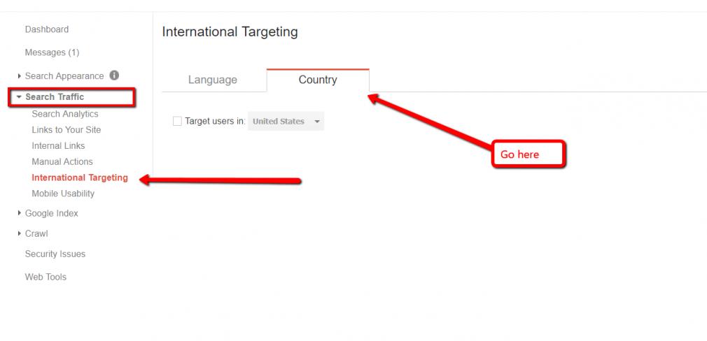 Google Webmaster International Targeting
