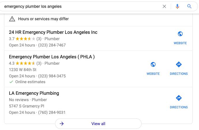 Emergency plumber Los Angeles Google map pack