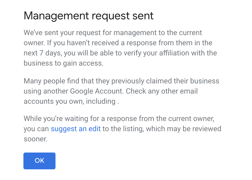 GMB management request - wait for responses