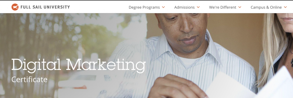 digital marketing certificate page from Full Sail
