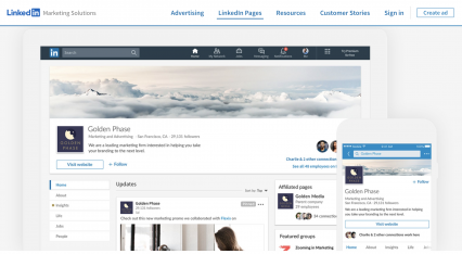 linkedin业务页面
