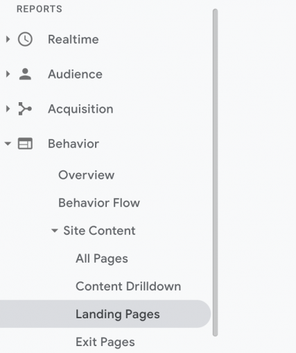 google analytics behaviors tab