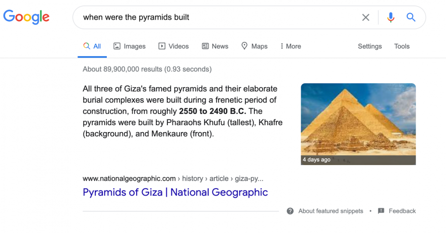 featured snippet paragraph