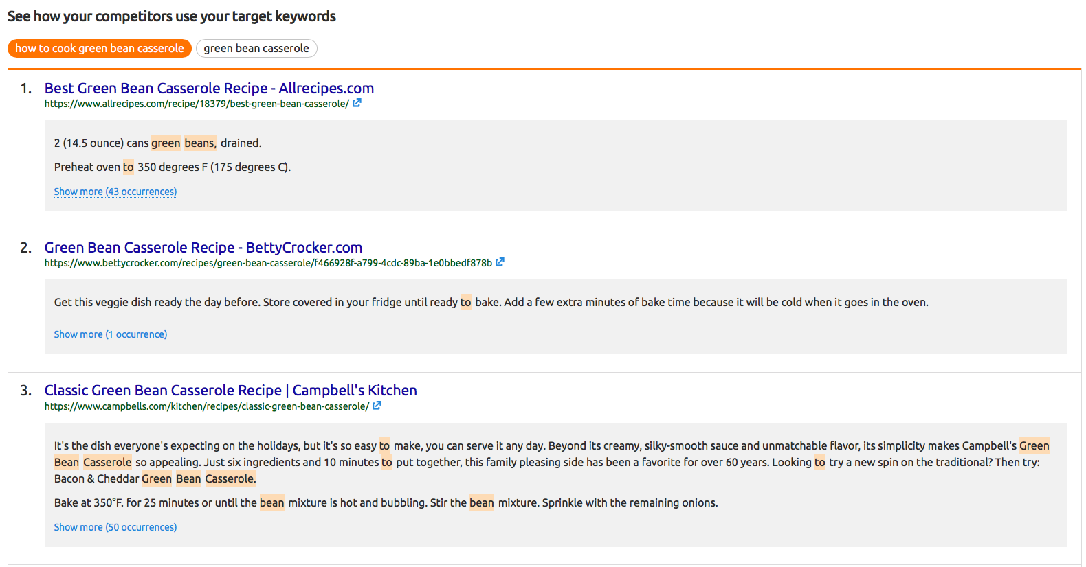 See how your rivals use your target keywords