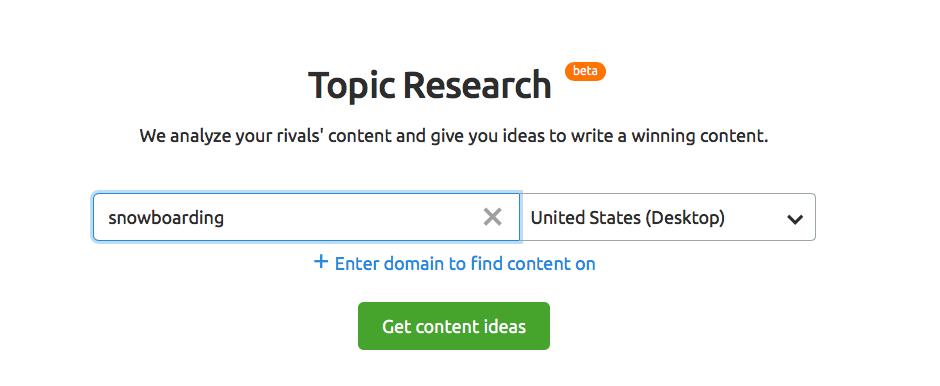 Set up Topic Research