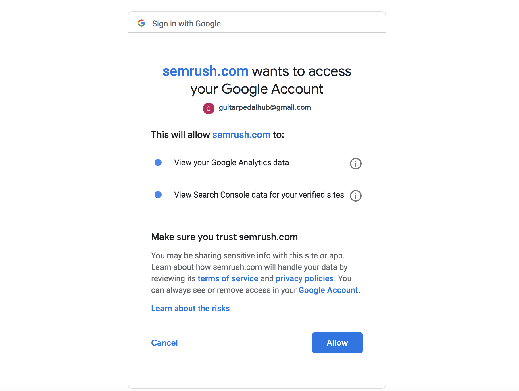 Connecting Organic Traffic Insights with Your Google Accounts image 3