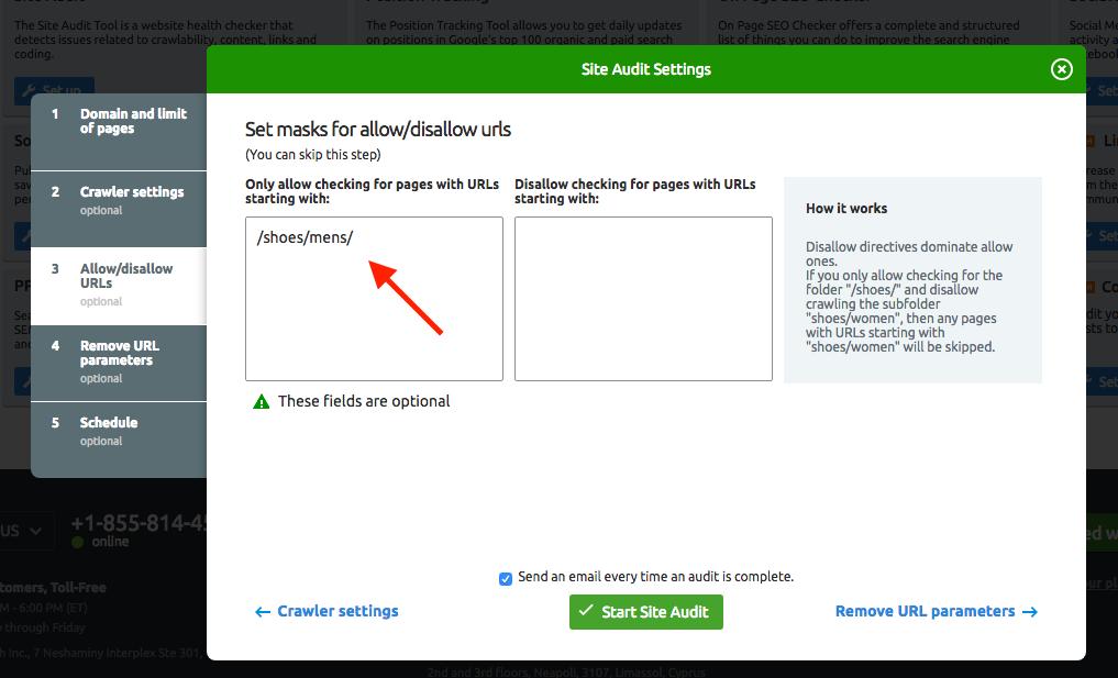 Configurer Audit de site image 4