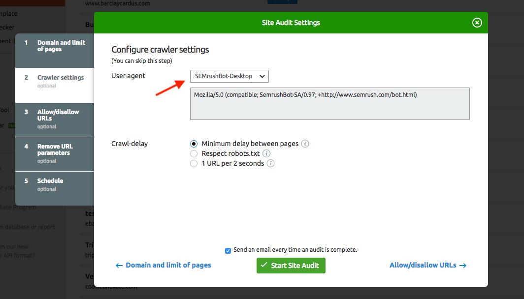 Configurer Audit de site image 3