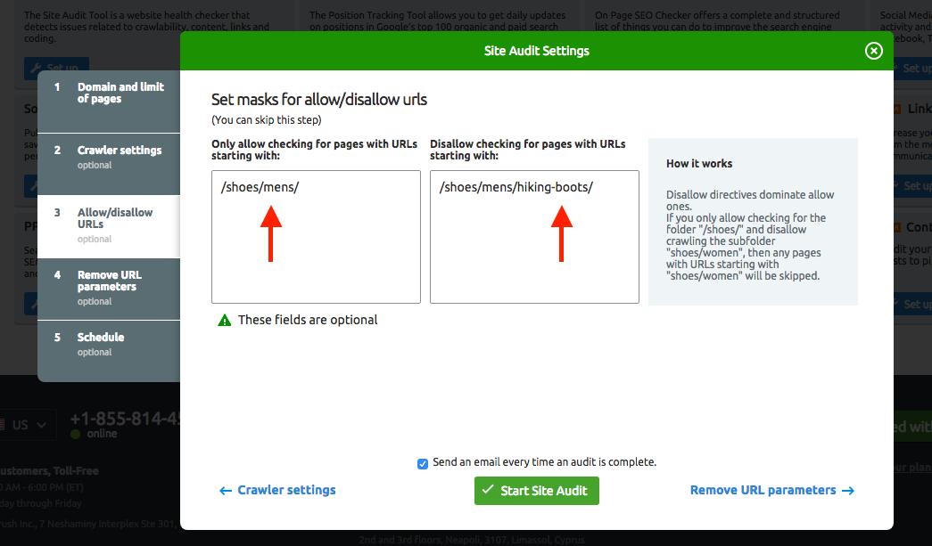 Configurer Audit de site image 5