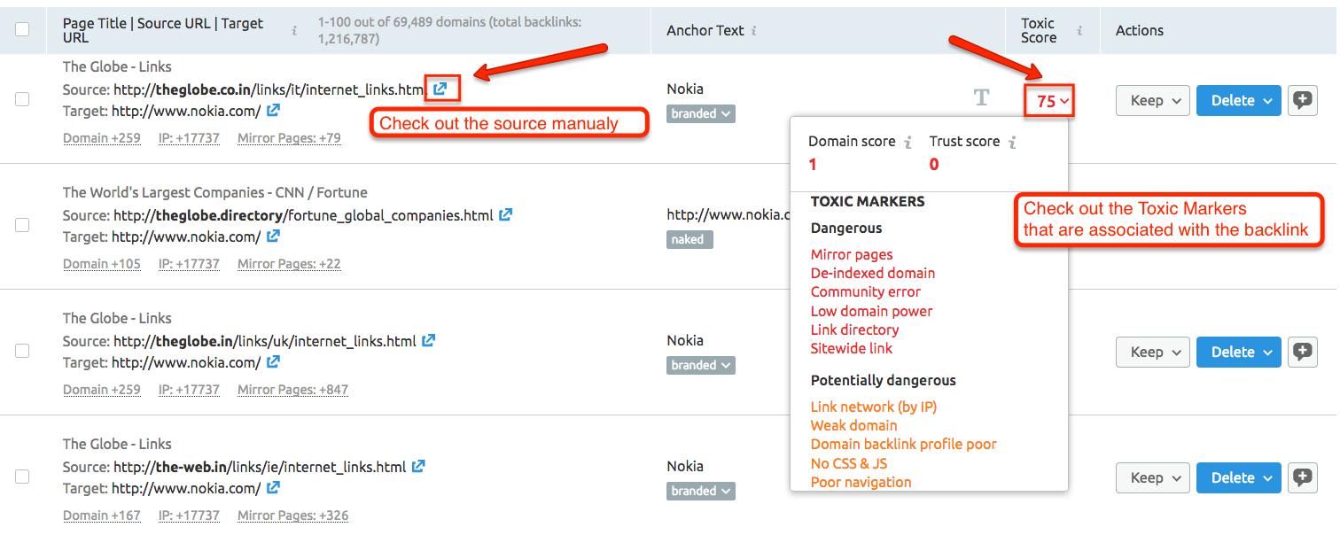O que significam todos os Marcadores Tóxicos na ferramenta Backlink Audit? image 2