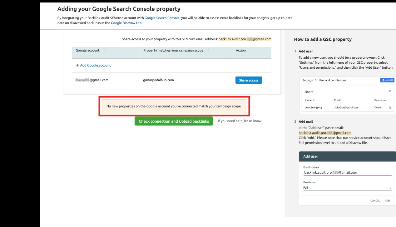 Connecting Backlink Audit to Google Accounts image 14