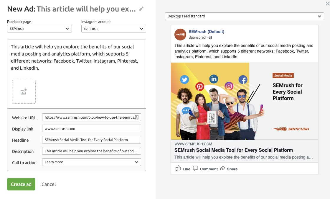 Semrush Social Media Ads ad creation