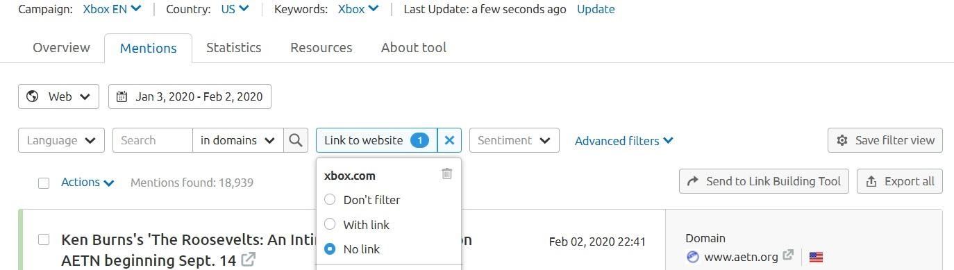 'Mentions' tab in Brand Monitoring - filter by link absence to find backlink opportunities