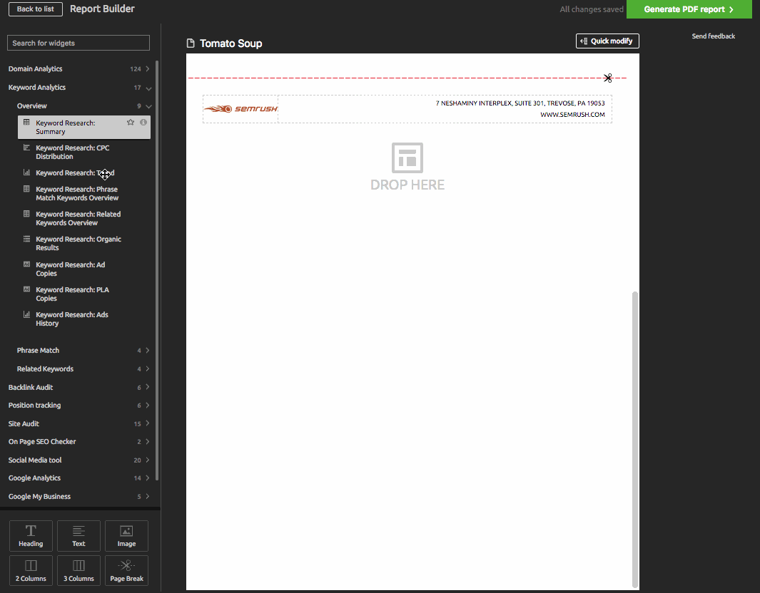 Build Reports in Semrush