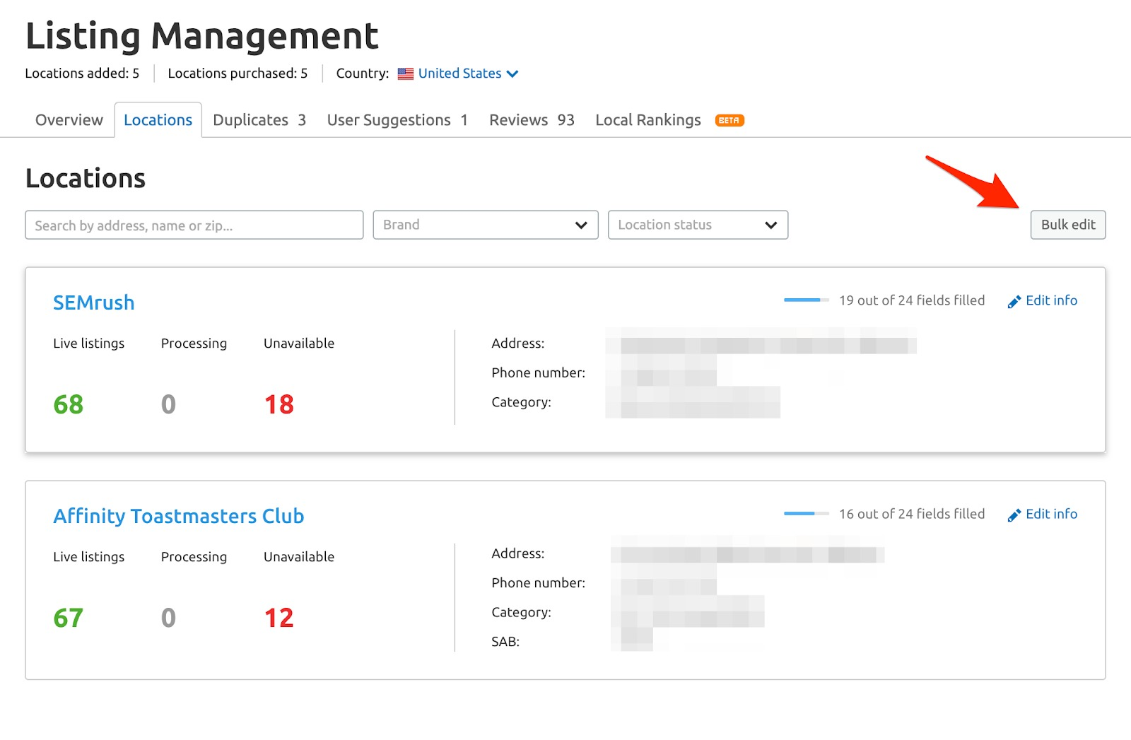 Listing Management Locations tab image 6
