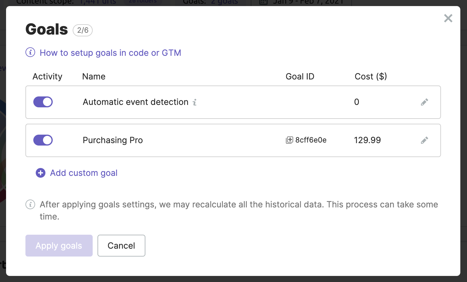 How to add a custom goal in the goals management modal window of ImpactHero.