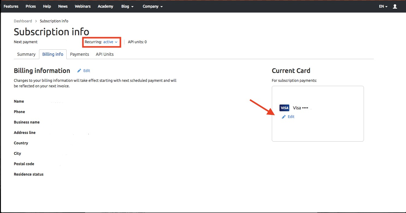 Why can't I change the credit card information? image 1