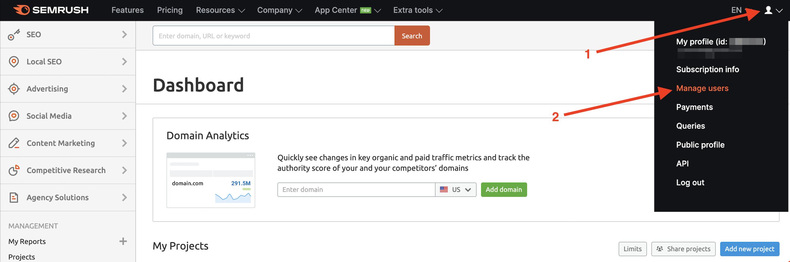 Semrush manage users
