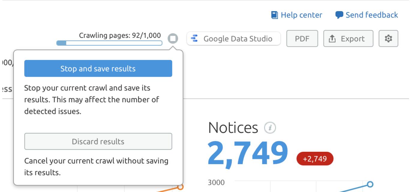 Quanto tempo leva um rastreamento de um site? Parece que minha auditoria travou image 1