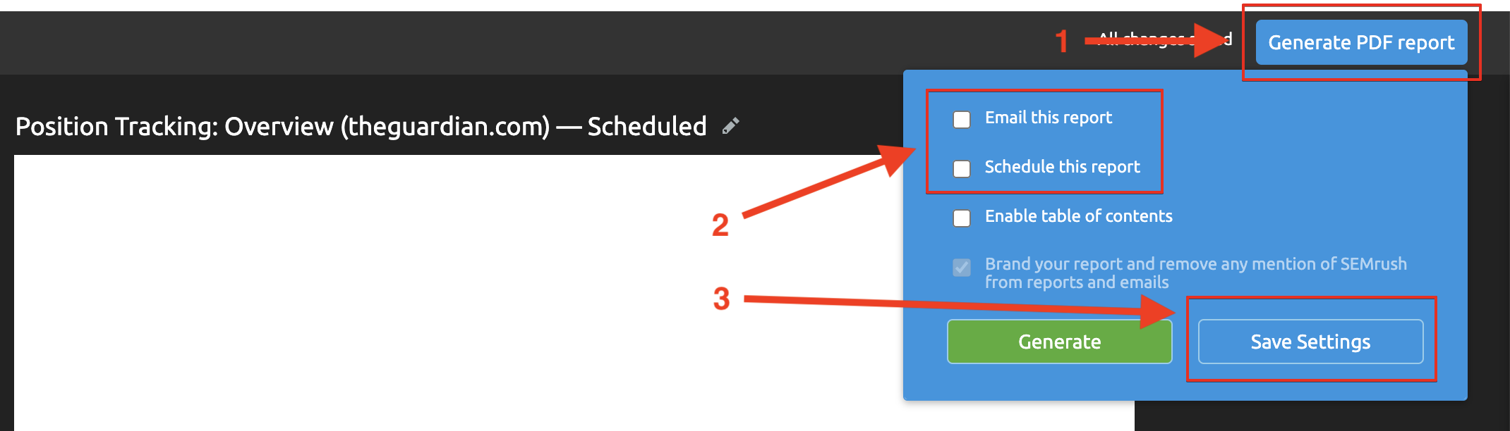My Reports scheduling settings