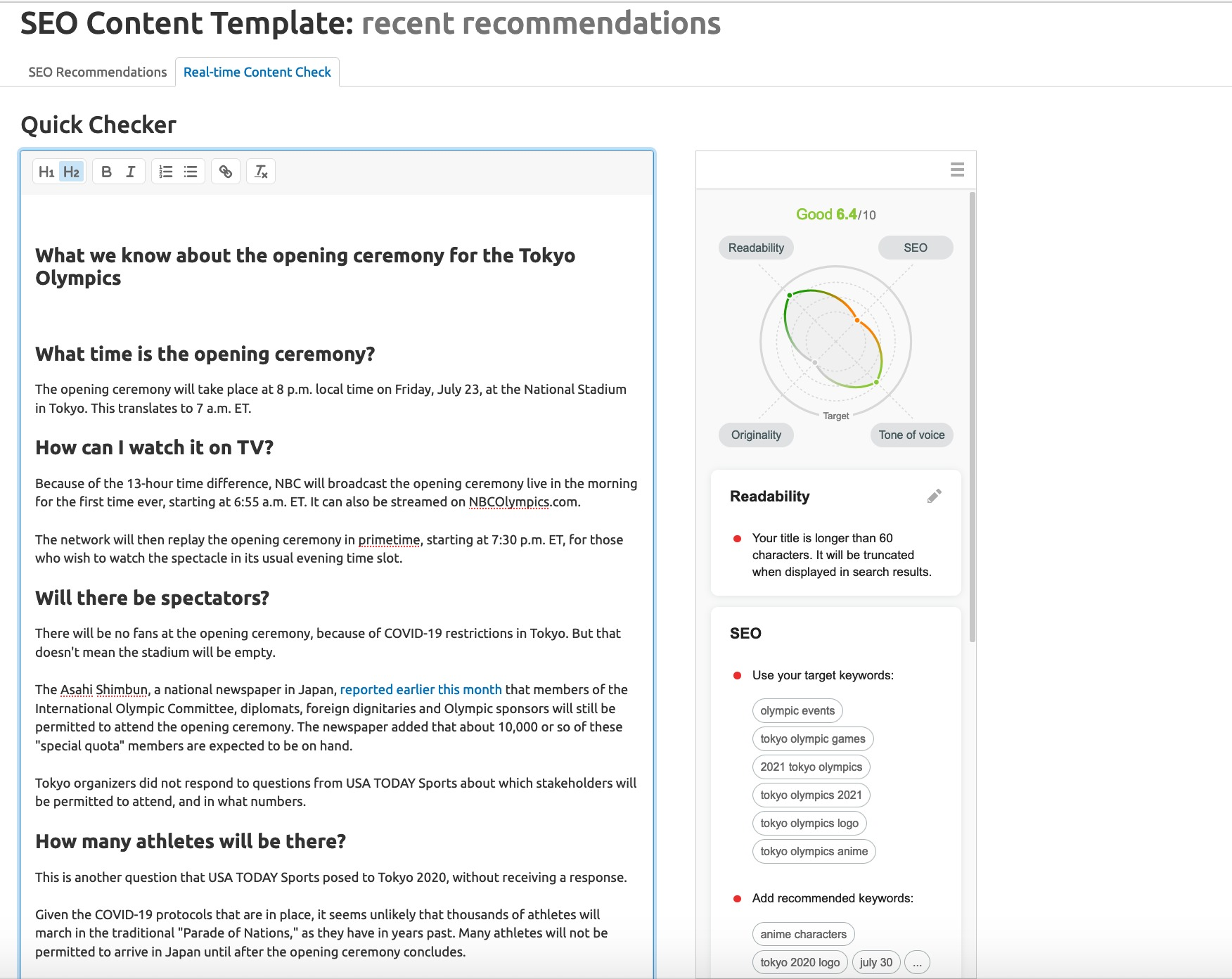 real time content checker